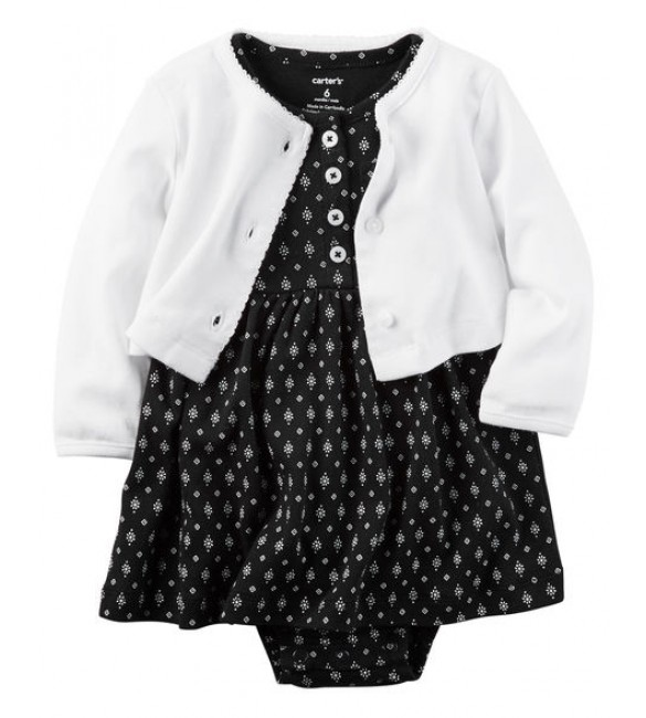 2-Piece Little Traveler Babysoft Bodysuit Dress & Cardigan