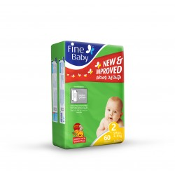 Fine Baby Super Dry - Smart Lock, Size 2 Small, 3-6 Kg, Jumbo Pack, 60 PCS