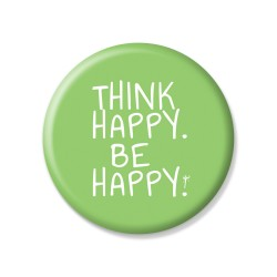 YM Sketch-Think Happy Be Happy Button Pin