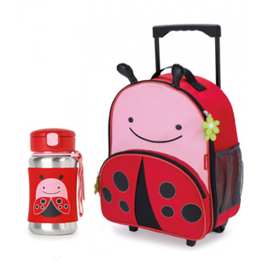 Skip Hop Zoo Rolling  Backpack & Stainless Steel Straw Bottle -Ladybug