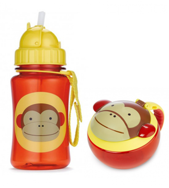 Skip Hop Zoo Straw Bottle & Snack Cup-Monkey