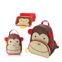 Skip Hop Zoo Little KId Backpack,Lunchie & Lunch Kit - Monkey