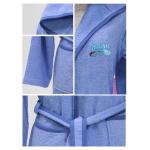 Nova embroidered Bath Robe Plain/Car Racing- Blue