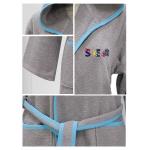 Nova embroidered Bath Robe Plain/Sea- Gray