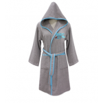 Nova embroidered Bath Robe Plain/Car Racing- Gray