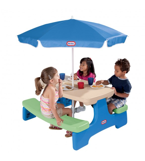 Little Tikes Easy Store Picnic Table with Umbrella - Blue\Green