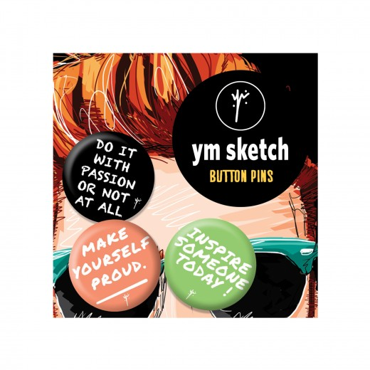 3 Ymsketch Button Pin - 3