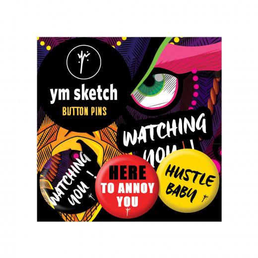 3 Ymsketch Button Pin - 5