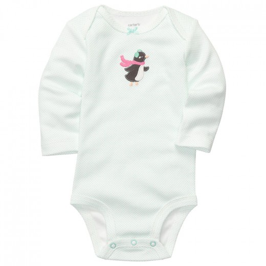 Carter's Long-Sleeve Penguin Bodysuit, 3 Months , 12 Months