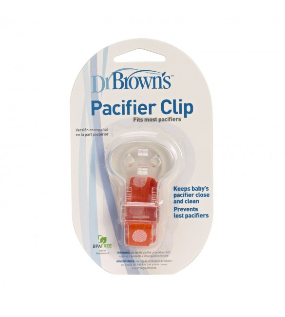 Dr. Brown's Pacifier Clip with Teether Orange