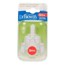 Dr. Brown's 2 Pack Natural Flow Level 1 Wide Neck Nipple
