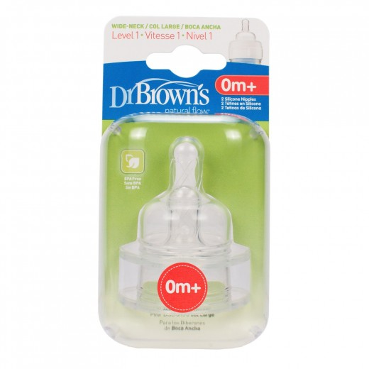 Dr. Brown's 2 Pack Natural Flow Level 1 Wide Neck Nipple