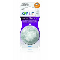 Philips Avent Natural Bottles 4 Hole Fast Flow Teat, 6m+ (Pack of 2)