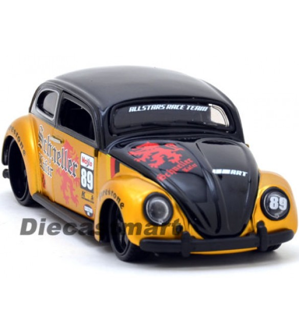 MAISTO 1:24 ALL STARS 1951 VW VOLKSWAGEN BEETLE BUG DIECAST CAR GOLD BLACK